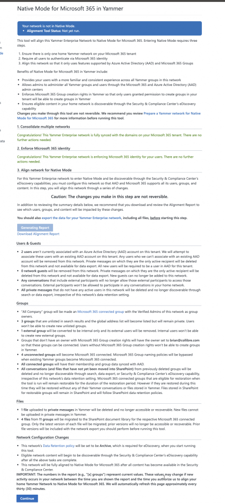Alignment report - Native Mode for Microsoft 365 in Yammer