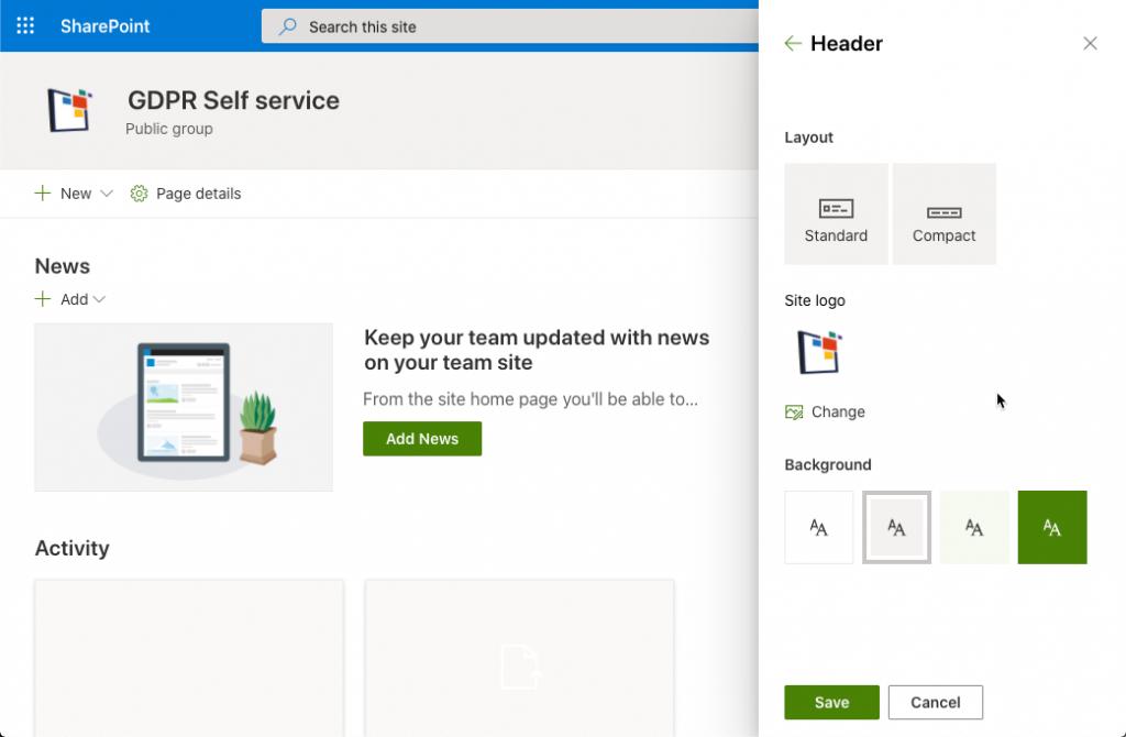 Upload webstedslogo på et SharePoint Modern websted